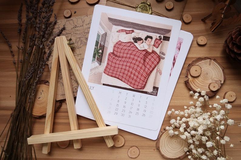 2019 Desk Calendar/Relationship Illustrations 2019 Calendar/Love Calendar  2019/Gift for her/Small Desktop Calendar