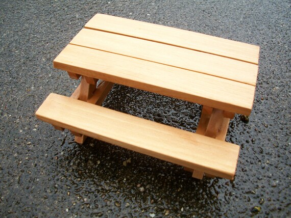 Fine Dollhouse Miniature Cedar Wood Picnic Table With Benches Natural Cedar Stain Creativecarmelina Interior Chair Design Creativecarmelinacom