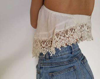 134b8decd5 cream white lace tube top crop top    size