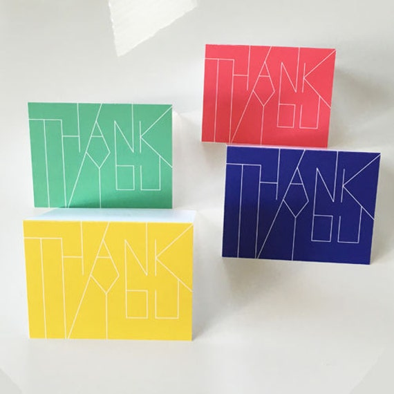 modern thank you card set multi color blue green yellow red etsy