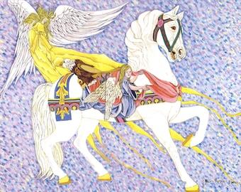 Angelic Treasure - Carousel Horse Art Print