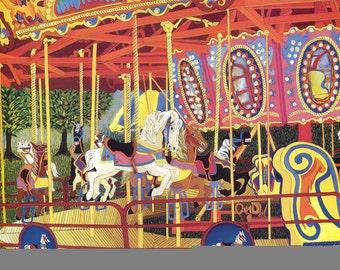 The First Ride - Carousel Horse Art Print