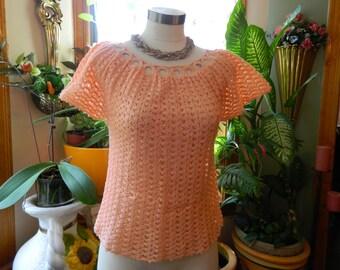 Crochet Peach Color Top Size M