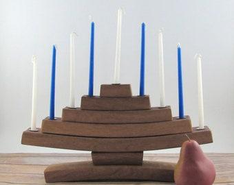 Chanukah Menorah, Hanukkah Decorations, Wine Decor, Traditional Housewarming Gifts, Modern Menorah, Wine Barrel Stave, Wooden Menorah