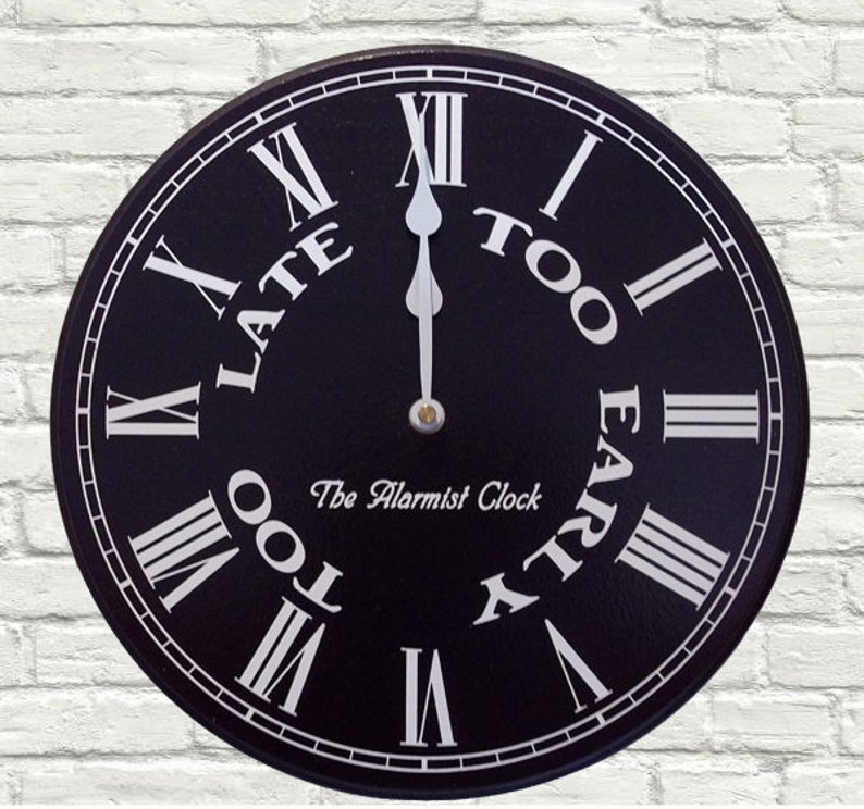The Alarmist Clock  12 Humorous Wall Clock Black