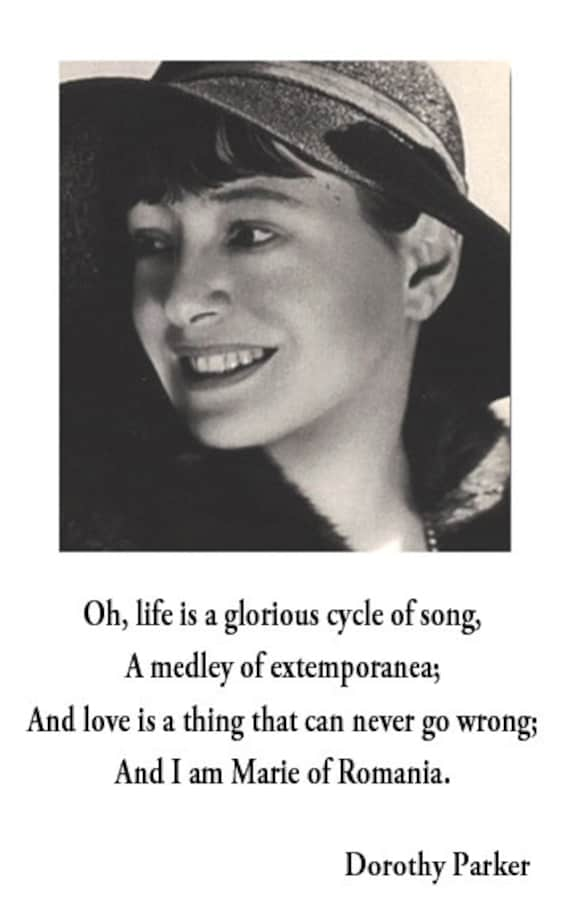 Dorothy Parker Quote Poster Life Is A Glorious Cycle Of Song Etsy