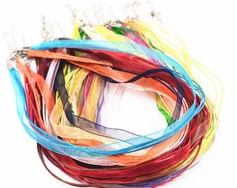 10Pcs - Colors Mixed Cord Necklace String - Waxed Cord Necklace - Organza Necklace Ribbon - Bulk Lot Wholesale Organza Ribbon Necklace