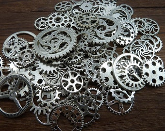 BULK 100 Mixed Steampunk Gear Charm Antique Silver Clockwork Cog Wheel Gearwheel Mechanical Watch Gear Clock Parts Decoration