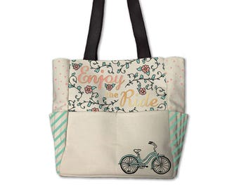 Planner Storage Tote Bag by Recollections - C'est La Vie / Enjoy The Ride - Planner Accessories Storage Tote/Planner Bag