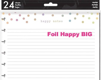 Big Happy Planner Paper Refill Pack - Foil Happy/Colored/Neon Happy Life/Note Graph - Use with BIG Happy Planner