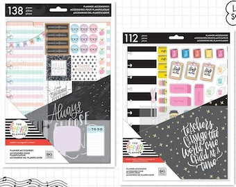 2 Sizes of Teacher Eidtion Planner Accessories for Create 365 BIG Happy Planner - Classic/BIG - Pocket Folder+Stickers+Sticky Notepads+Pages
