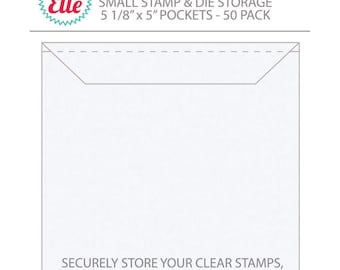 New Avery Elle Stamps and Dies Storage Pockets -  3 Sizes - 50pc/pack - Store all your Large stamps.