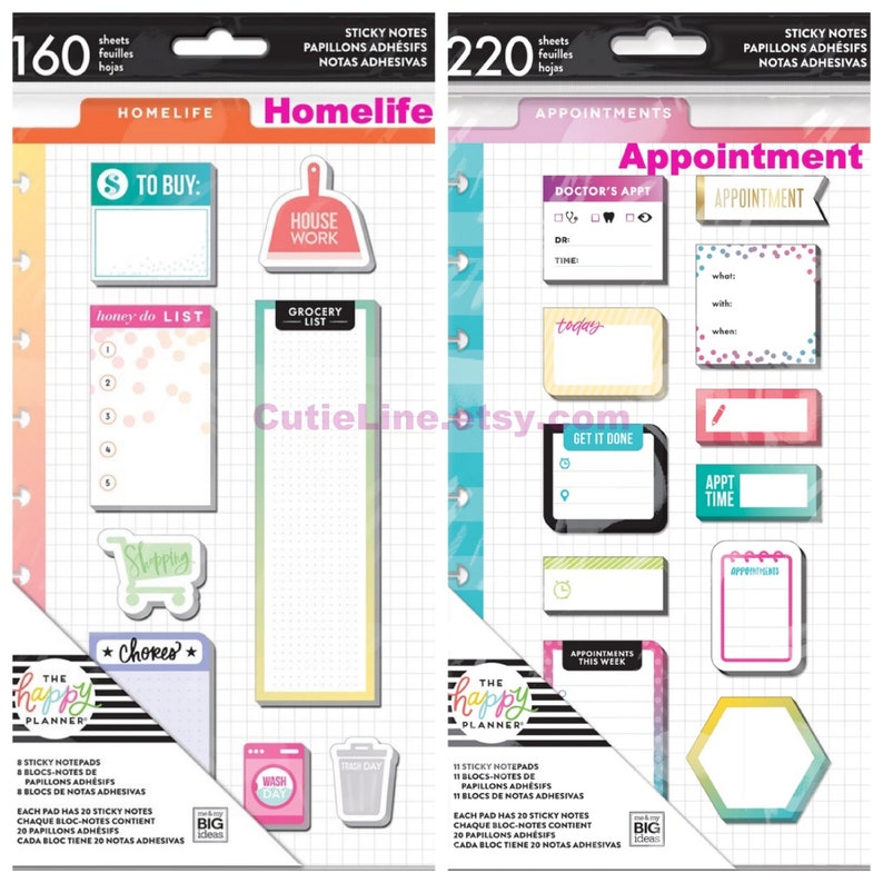 2 Options of Classic Sticky Notes by Happy Planner - Homelife /  Appointments - Planner Accessories/Add a note/Checklist