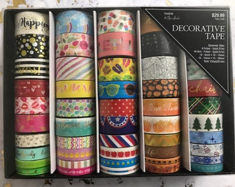 50 Rolls All Year Round Holidays Themed Washi Tapes Box by Paper Studio - Bold Colors/Gold Foiled/Floral