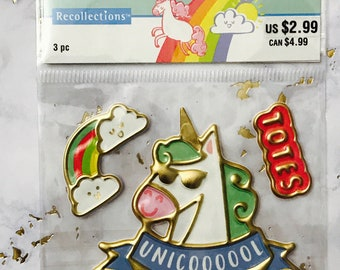 3pc Puffy Gold Foiled Unicorn Planner Stickers by Recollections - Lollipalpoza Planning