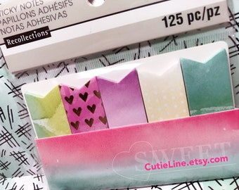 Watercolor Page Flag Sticky Notes by Recollections - 125pc/pack - Page Marks/Sticky Pads/Page Notes/Gold Foiled Hearts/Watercolor/Dots