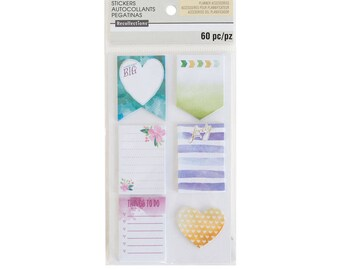 Watercolor Medium Sticky Notes By Recollections - 60pc - Watercolor with Floral/Checklists/Gold Foiled Accents