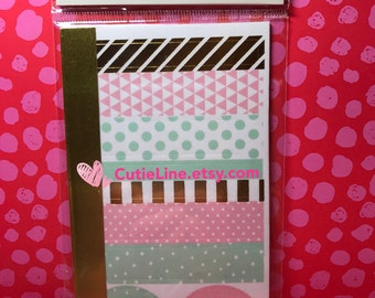 Uptown Chic Washi Book by Recollections - 74pc/pack - Watercolor washi Stickers/Gold Foiled washi/Pink and Mint