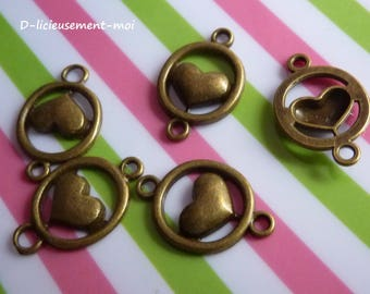 Set of 5 connectors 14 * 22 mm heart encircled in metal bronze
