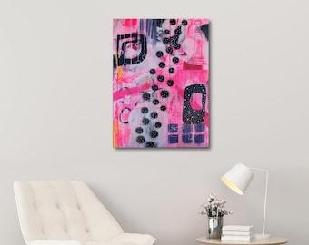 Colorful Abstract Art, FREE Shipping, Pink Wall Art, Medium Size Wall Art, Pink Painting, Unique Art, Original Painting, Wall Art, Urban Art