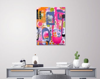 Pink Abstract Art, Colorful Art, Whimsical Painting, FREE Shipping, Original Art, Medium Size Painting, Urban Art, Modern Painting