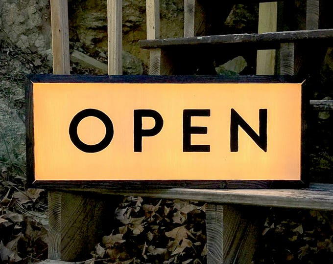 Art Deco LED Custom Open and Closed Light Box Sign with Remote