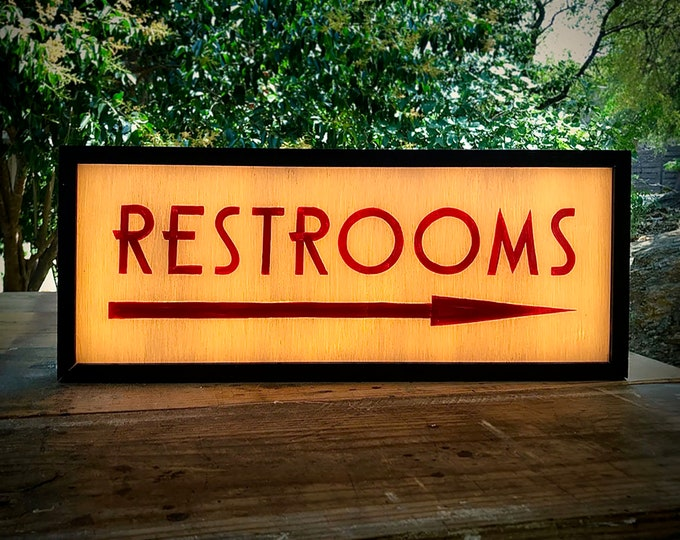 Restroom Sign with Arrow, Bathroom Sign, Vintage Restroom Sign, Restroom Sign Direction, LED Restroom Sign, Custom Light Box Sign, LED Sign