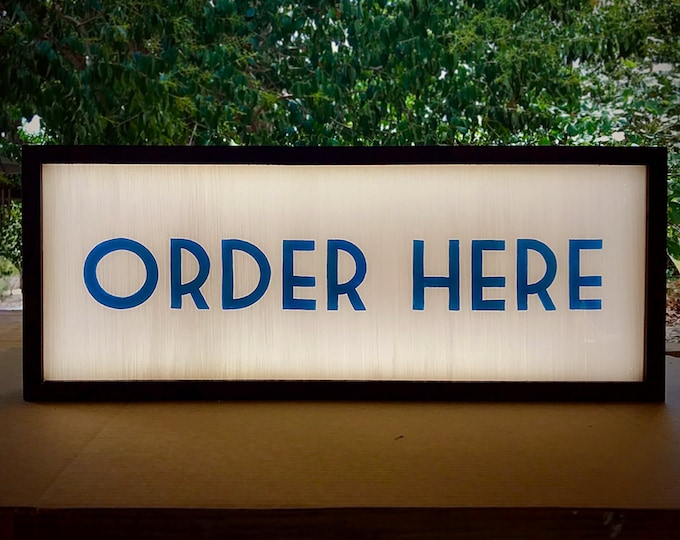 Order Here Sign, Lighted Order Here Sign, Art Deco Sign, Vintage Order Here Sign, Custom LED Sign, Custom Light Box Sign, Vintage Light Sign