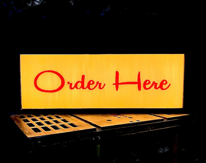Midcentury Modern Hand Painted Script LED Custom Light Box Order Here Sign