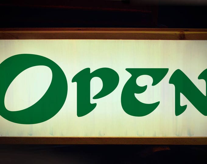 Open Sign, Lighted Open Sign, Art Nouveau, Bold, Open Closed Sign, Open Sign Light, LED Open Sign, Vintage Open Sign, Custom Light Box Sign