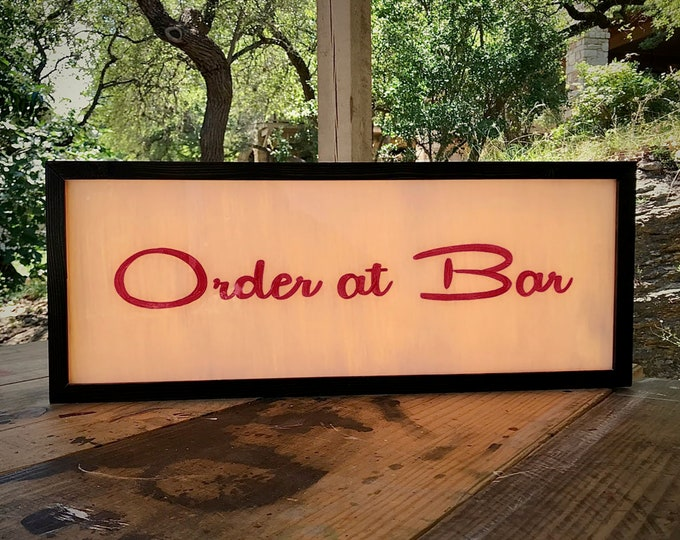 Order Here Sign, Order at Bar Sign, Midcentury Modern Sign, Custom Light Box Sign, Custom LED Light Box Order Here Sign, LED light box sign