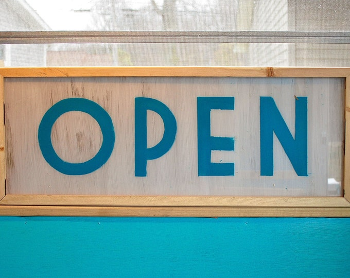 Open Sign, Lighted Open Sign, Art Deco, Double Sided, Open Sign Light, LED Open Sign, Vintage Open Sign, Open Signs, Custom Light Box Sign