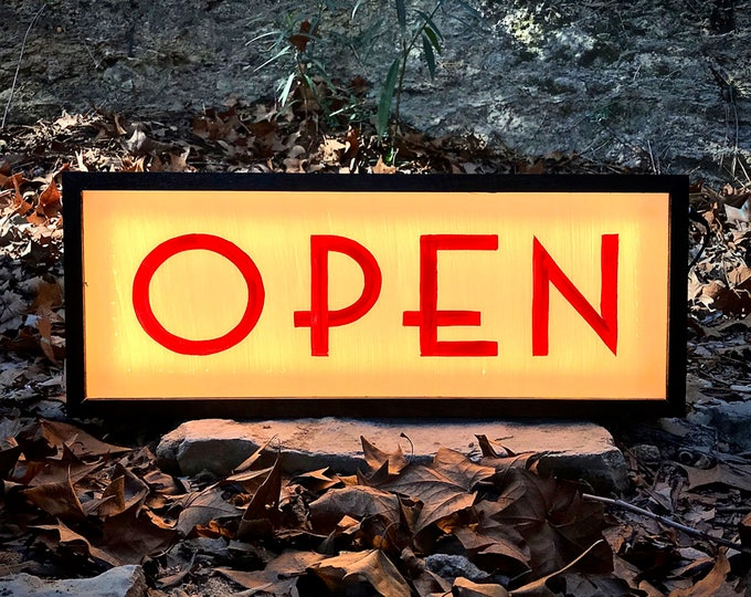 Open Sign, Lighted Open Sign, Double Sided, Art Deco, Open Sign Light, Open Closed Sign, LED Open Sign,  LED Sign, Custom Light Box Sign