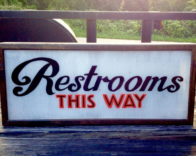 Restroom Sign, Lighted Restroom Sign, Light Box, Restroom Sign Light, Light Box Sign, LED Restroom Sign, Midcentury Modern, Double Sided