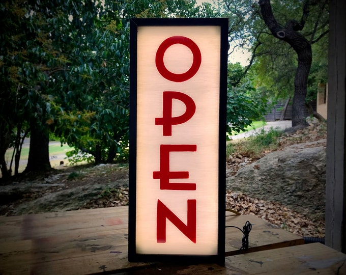 Open Sign, Lighted Open Sign, Art Deco, Double Sided, Open Closed Sign, Open Sign Light, Light Box Sign, LED Open Sign, Storefront Sign