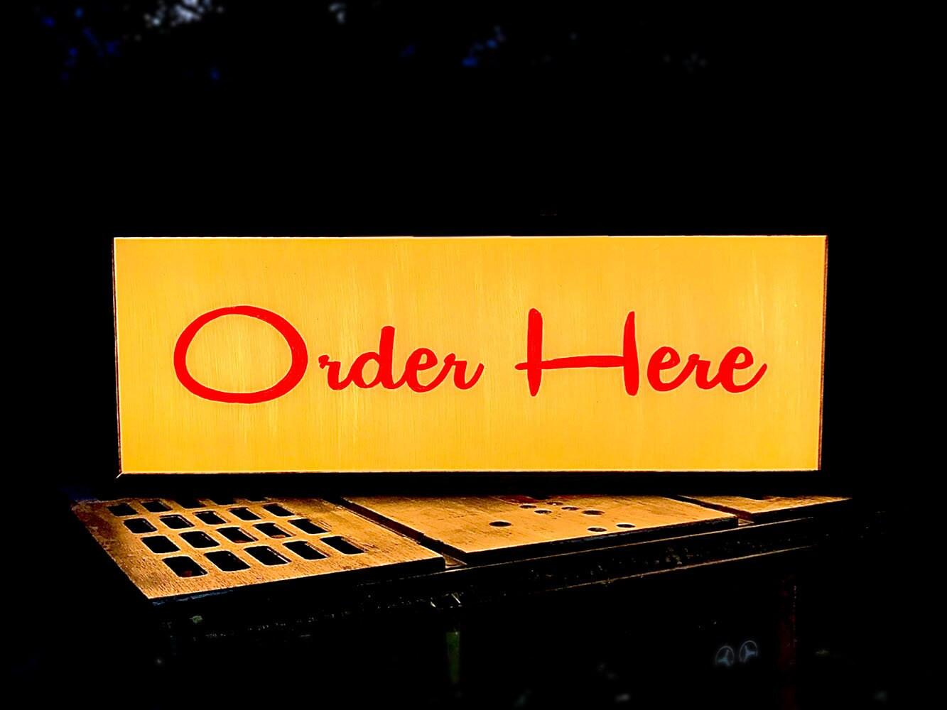 Midcentury Modern Hand Painted Script Led Custom Light Box Order Here Sign