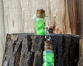 Handcrafted Tiny Bottle Neon Earrings