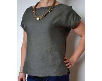Linen top, linen blouse, linen shirt women, summer tops, top with sleeves, plus size shirt,  loose linen shirt,plus size top,top for womens