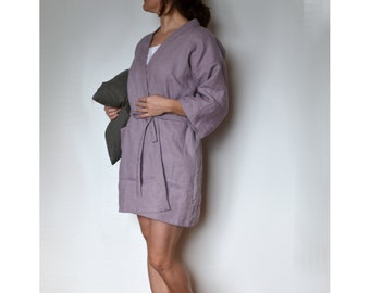 Linen Women Bathrobe c8212c322