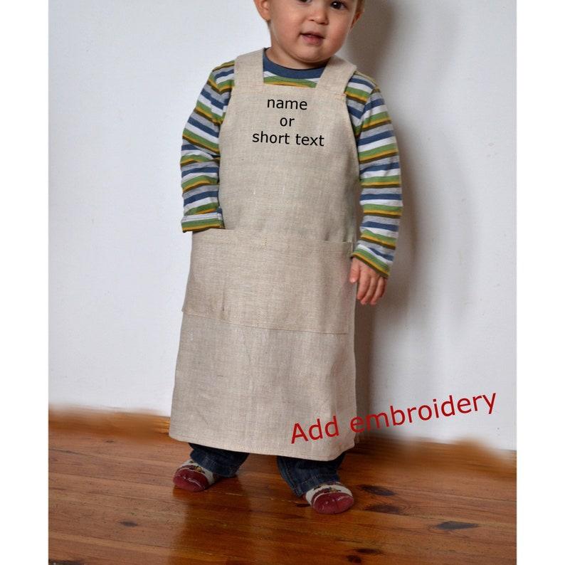 Personalized Kid Apron Linen Kids Apron Kids Apron Linen Etsy