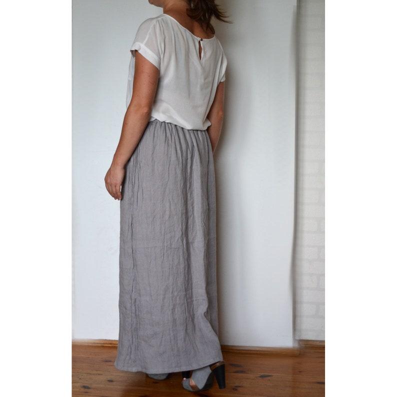 39b0afc9df Long linen skirt Long skirt Gray Ruffle Skirt Loose Linen