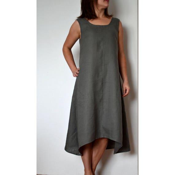 Linen dress, Sleeveless dress, plus size linen dress, linen dress for  women, linen clothing, dress for summer, long dress, linen summer dres