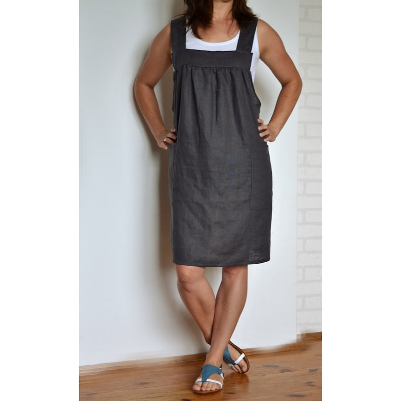 Plus size apron, linen apron, plus size linen apron, apron for women, apron  with pockets, pinafore, square cross apron, japanese apron