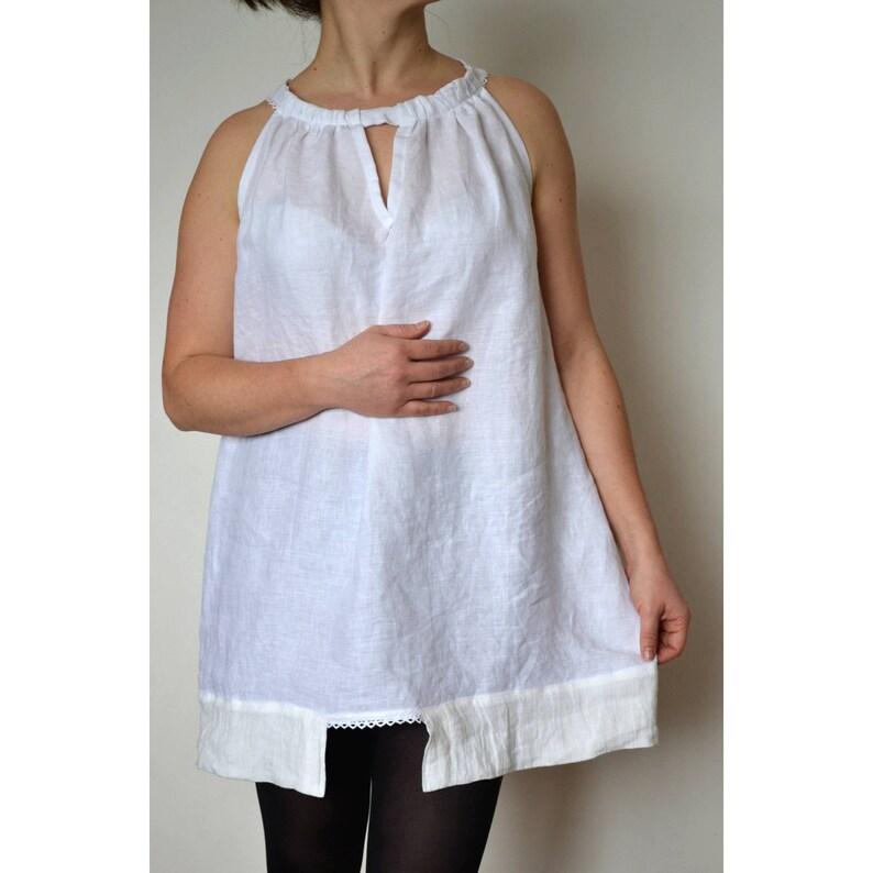 f1e6992e6c6ee8 White linen tunic Summer tops Sleeveless tunic Women
