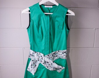 Playsuit green cotton - printed waist belt