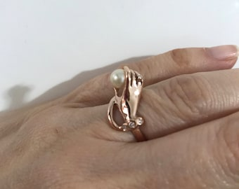 Victorian style 9 carat hand ring#rose gold hand ring#rose giod ring#antique style ring