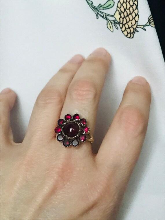 Victorian ring#flat cut garnet ring#antique ring#a