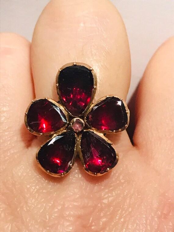 Victorian flat cut garnet ring#victorian ring#anti