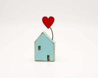 Little wooden house Love heart Scandinavian Folk art Cornish cottage Coastal Nautical seaside Gifts for her Loved one Gift Wrap Birthday