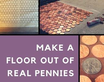 Copper penny floor etsy penny floor template penny template diy penny floor penny floor penny project floor of pennies backsplash template unique floor maxwellsz